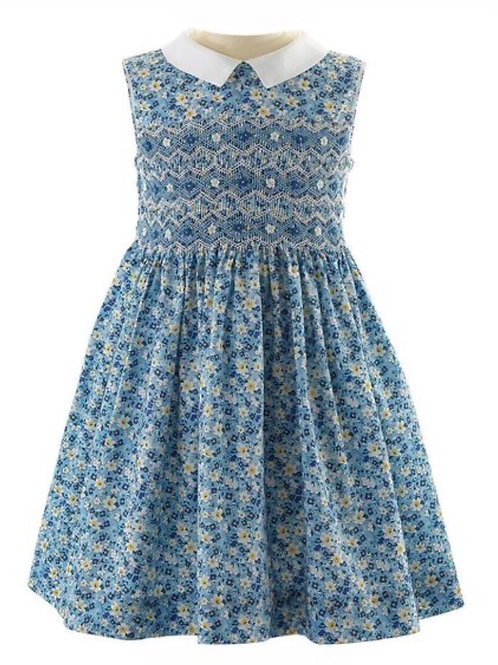 Rachel Riley Spring Blue Floral Smocked Dress