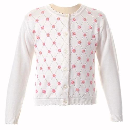 Rachel Riley Daisy Lattice Cardigan Sweater 18 mo,2t, 3t