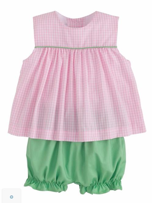Little English Bellemeade Bloomer Set- pink and green