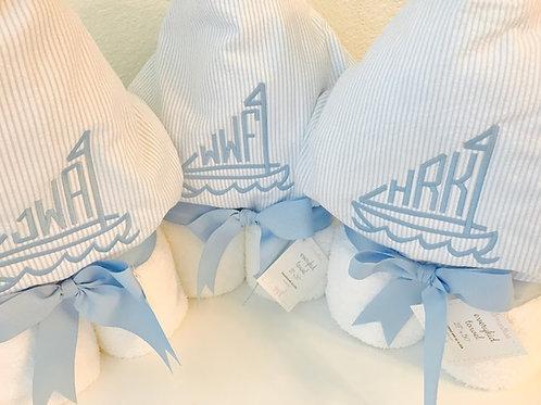 Hooded Towel-Light Blue Seersucker