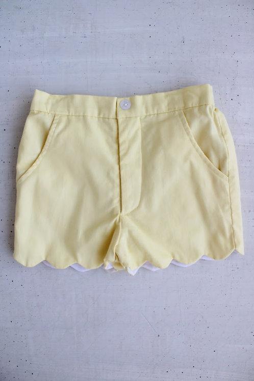 Little English Yellow Scallopped Shorts