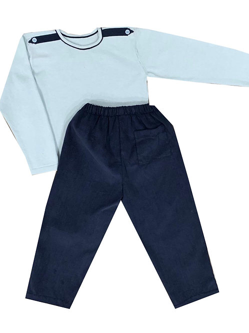 Lullaby Set  Light Blue and Navy Boys Sweater 2t, 4t