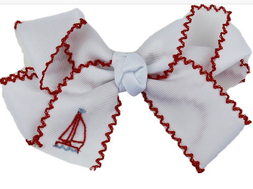 Lullaby Set Anchord Away Red Sailboat Hair Bow
