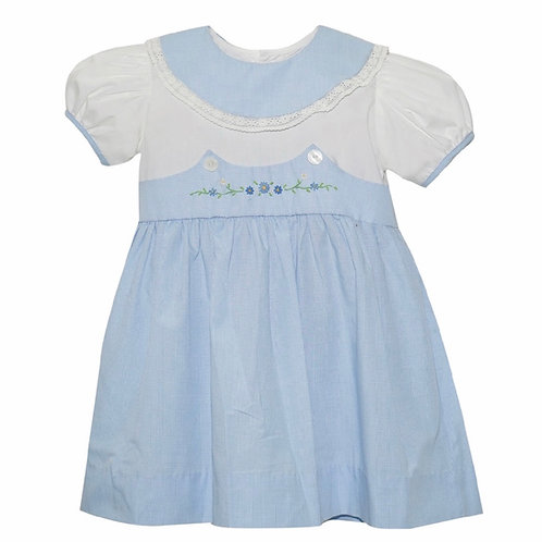 Lullaby Set Light Blue Gingham Dress with Flowers