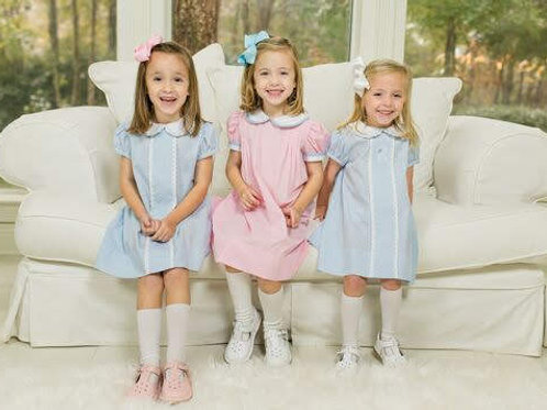 Lullaby Set Pink Gingham Dress with Light Blue Welting
