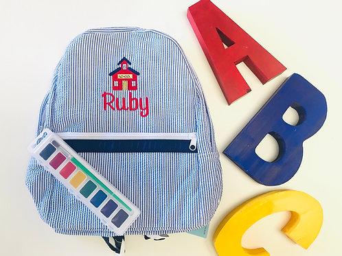 Navy Seersucker Medium Backpack by Mint