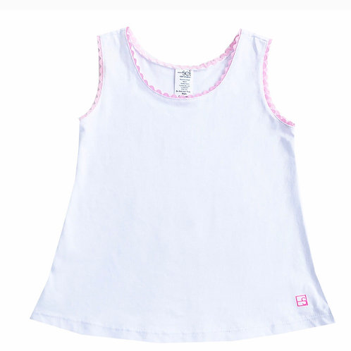 Set  Athleisure White Knit Tank with Pink Ric Rac