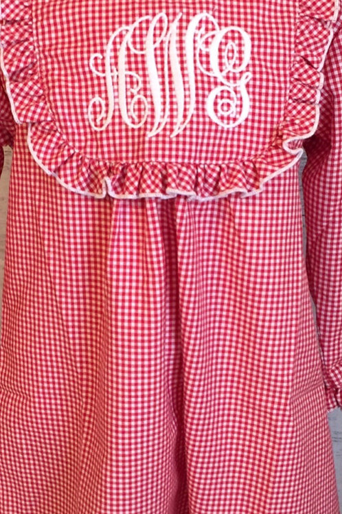 Red Gingham Gown-12 yrs