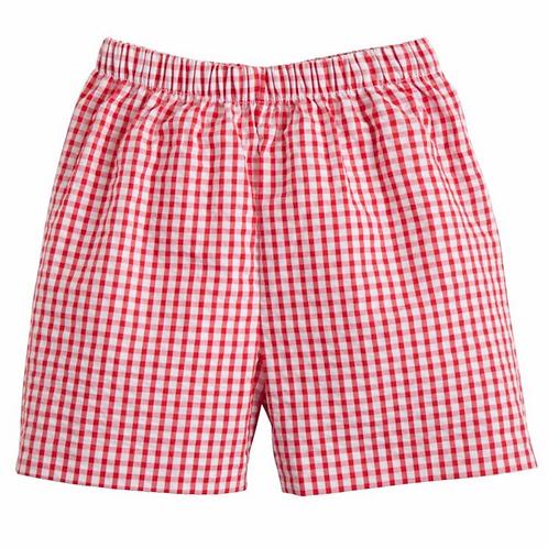 Little English Red Gingham Basic Shorts