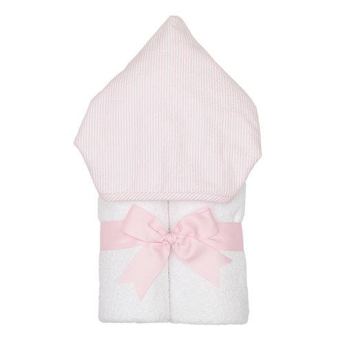 Hooded Towel-Pink Seersucker