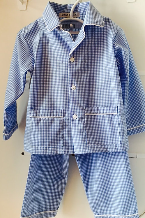 Sweet Dreams boys Periwinkle Gingham Pajamas-12 mo
