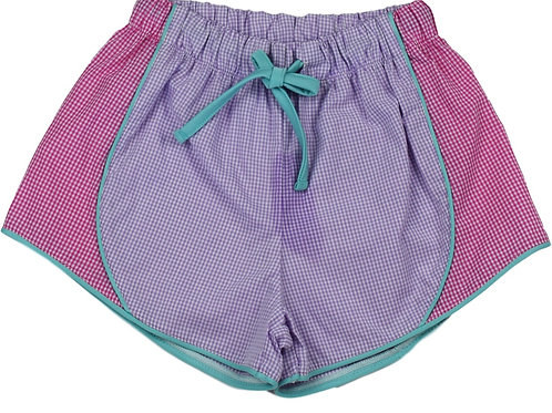 Set Athleisure Purple and Hot Pink Gingham Elise Shorts
