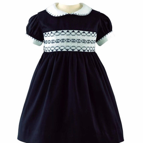 Rachel Riley Navy Classic Smocked Dress-Heritage Collection