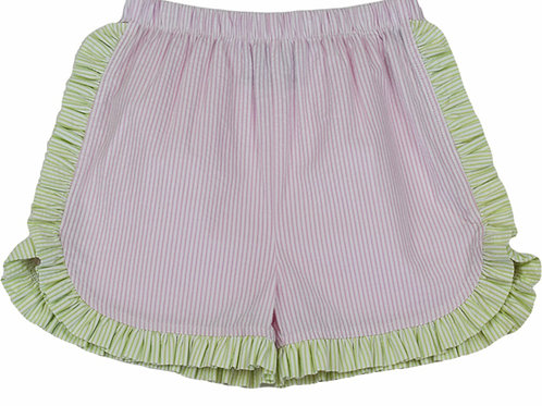 Lullaby Set Pink and Green Seersucker Charlotte Shorts