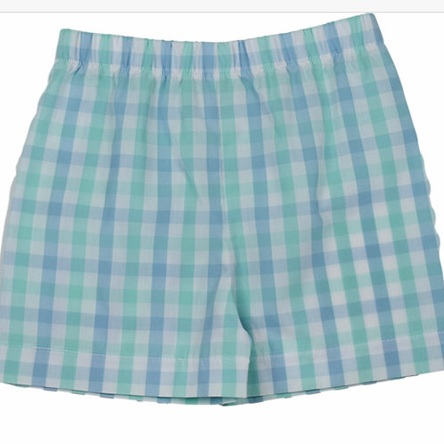 Lullaby Blue and Green Plaid Shorts