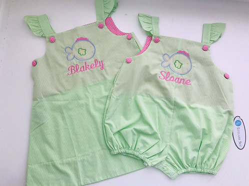 Lullaby Set Green Stripe Girl Bubble