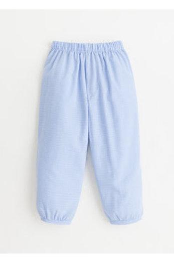 Little English Light Blue Gingham Banded Pants