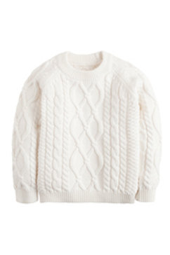 Little English White Cable-Knit Sweater