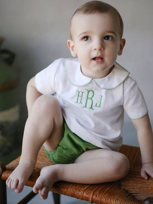 Little English Green Whip-Stitched Peter Pan shirt 24 mo