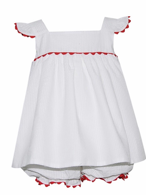 Lullaby Set White Seersucker Swing Set with Red Ric