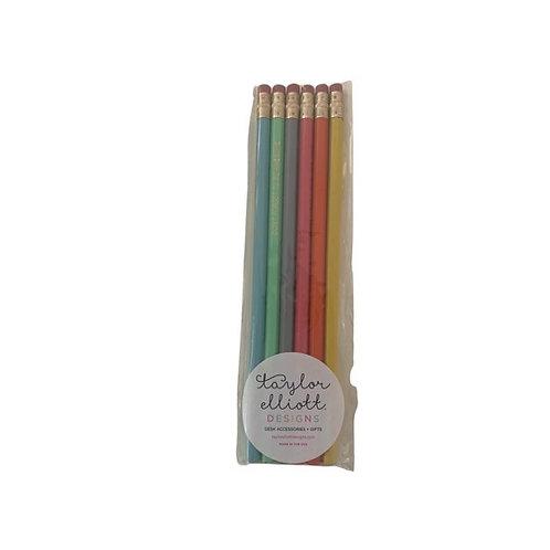 Motiviational Pencil Set-pink, yellow, orange, blue, green