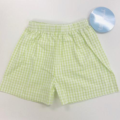Little English Green Gingham Shorts