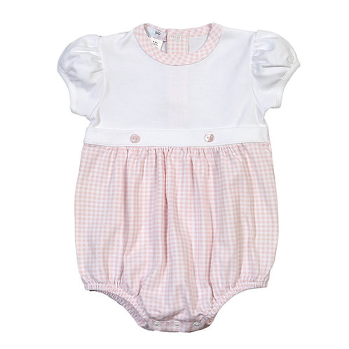 Baby Bliss Pima Pink Gingham Button Bubble