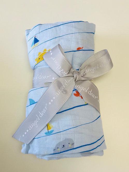Angel Dear Sea Stripes Muslin Swaddle Blanket