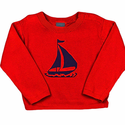 Lullaby Set Anchors Away Red Sailboat Sweater