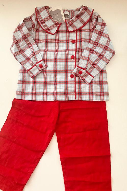 True/Honesty Light Blue and Red Plaid Pant Set