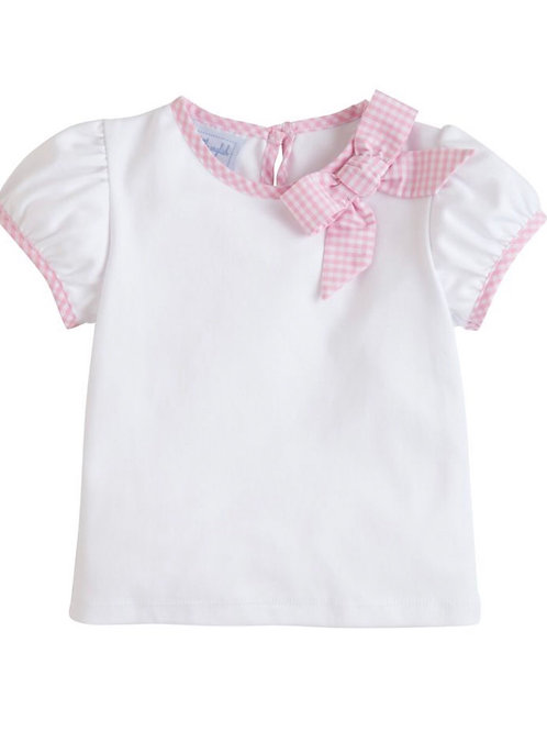 Little English Pink Park Avenue Bow Shirt
