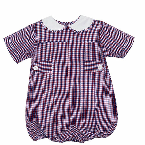 Lullaby Set Red and Navy Plaid Bubble