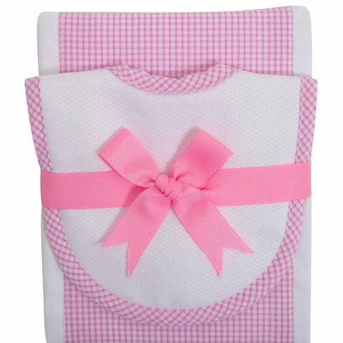 3 Marthas Hot Pink Gingham Bib/Burp Set