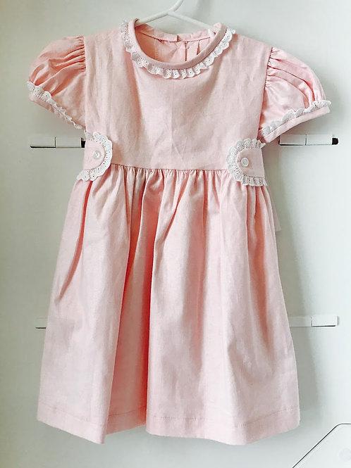 Anvy Pink Linen Annabelle Dress