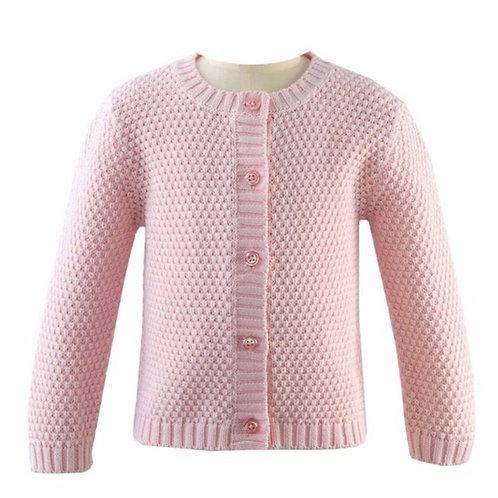 Rachel Riley Pink Moss Stitch Cardigan Sweater