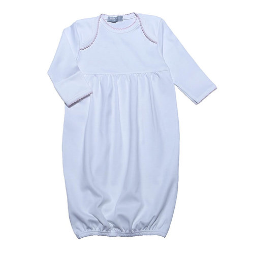 Baby Bliss Pima Gown with Pink Trim