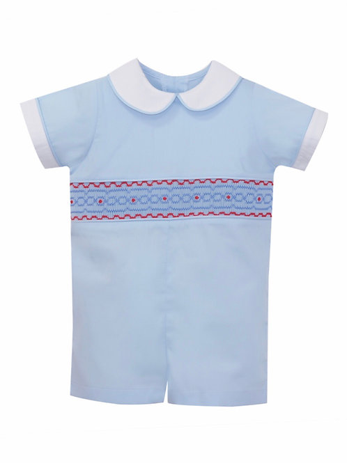 Lullaby Set Blue and Red Smocked Shortall