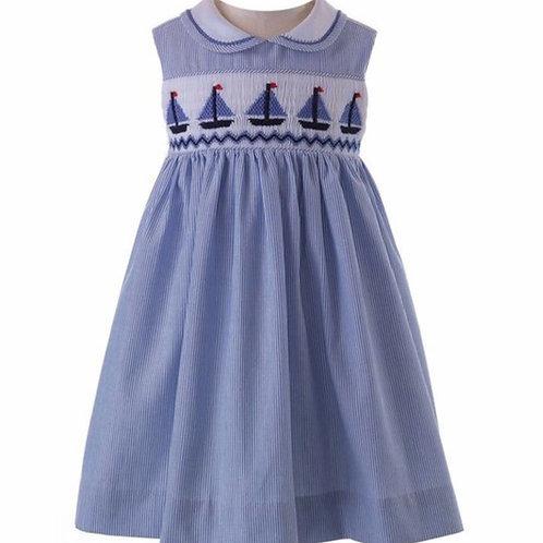 Rachel Riley Smocked Sailboat Dress
