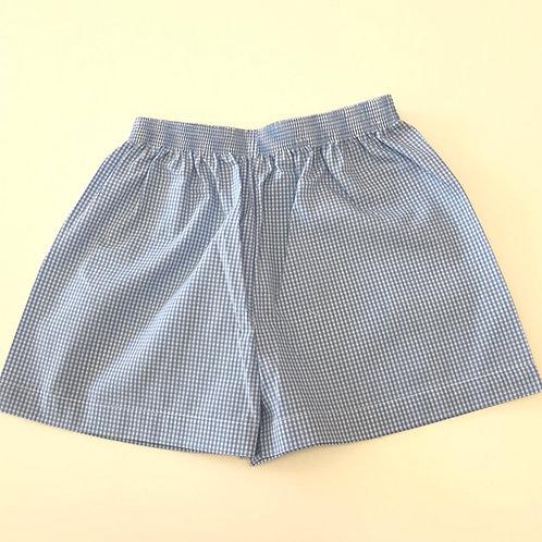 Lullaby Set Medium Blue Gingham Shorts 12, 18 mo