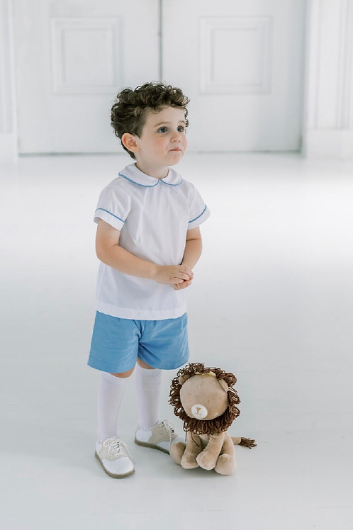 Lullaby Set  White with Blue Cord Piping Sibley Shirt