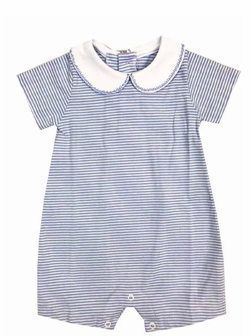 Lullaby Set Striped Knit Romper-Light Blue