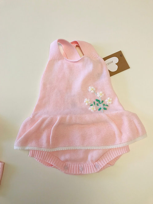 Angel Dear Pink Knit Sun Bubble with Daisies