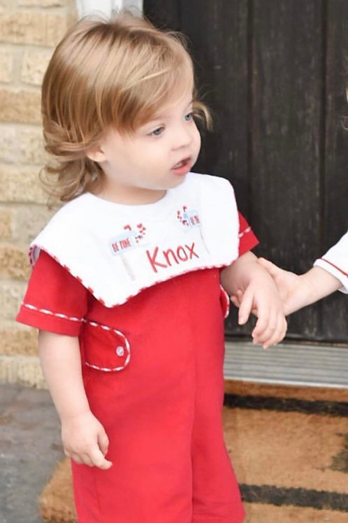 Anvy Kids Red Cord Shortall 12,24 mo with Gingham Trim