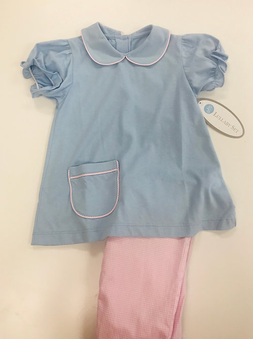 Lullaby Set Blue Knit with Pink Gingham Pant Set