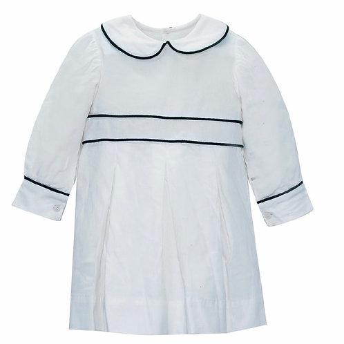 Lullaby Set White Cord Dress with Green Piping
