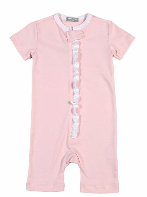 Baby Bliss Pima Pink Zipper Romper