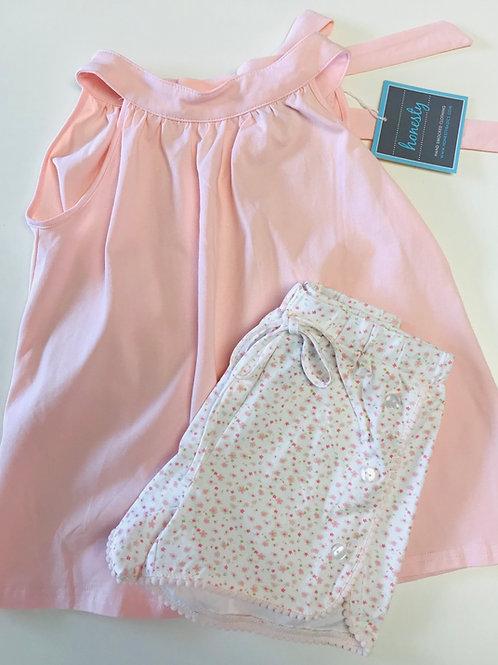 Honesty Girls Peach/Floral Short Set