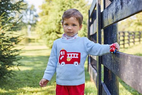 Little English Fire Truck  Intarsia Sweater 3t
