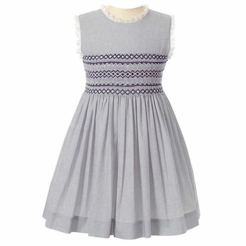 Rachel Riley Navy Pindot Smocked Dress