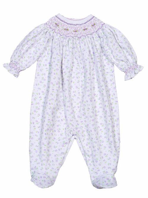 Baby Bliss Pima Lavender Floral Footie Romper